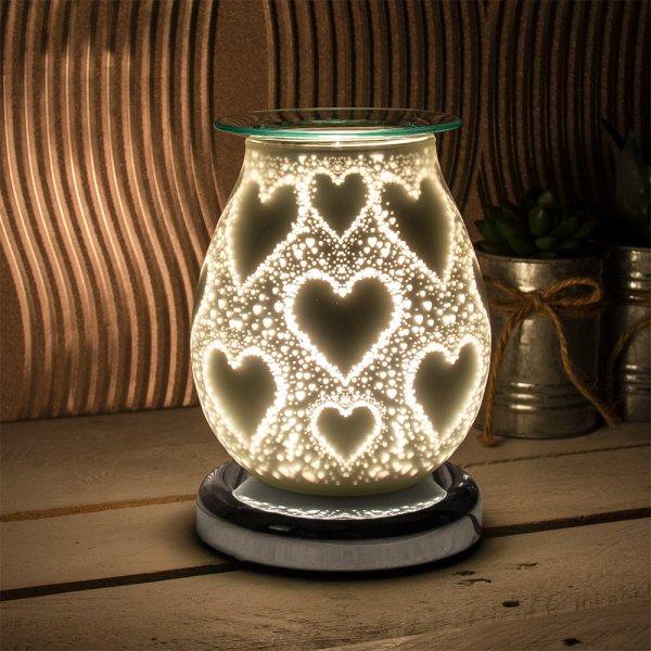 SATIN WHT HEARTS AROMA LAMP