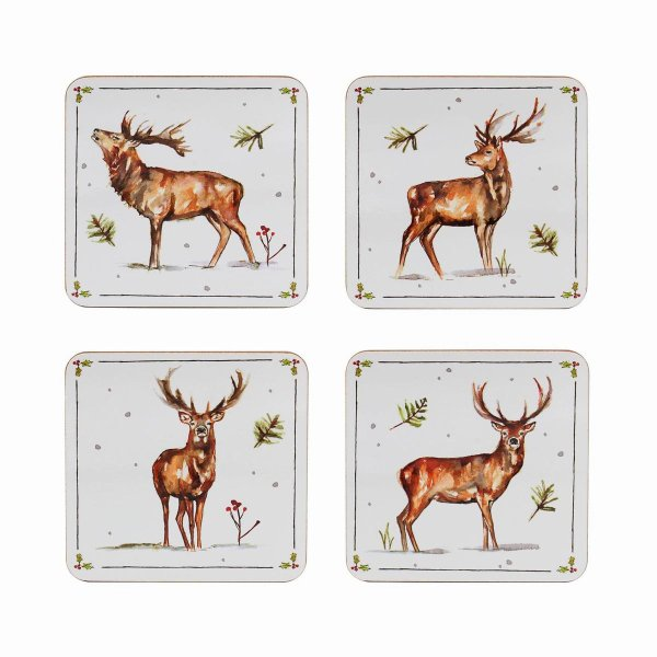 WINTER STAGS COASTERS SET OF4