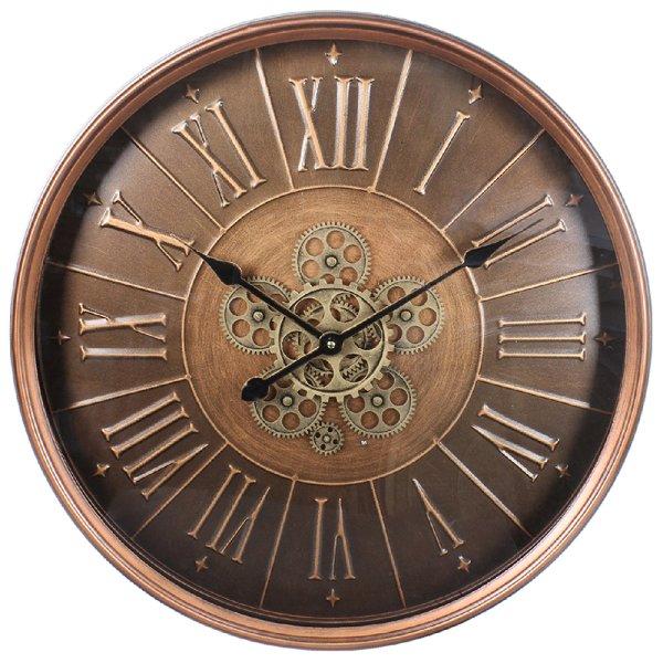 BRONZE MOVING COG CLOCK 60CM