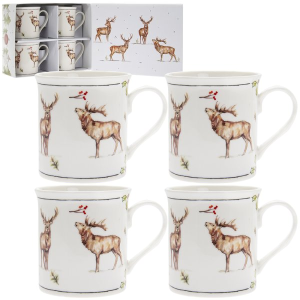 WINTER STAGS SET OF 4 MUGS