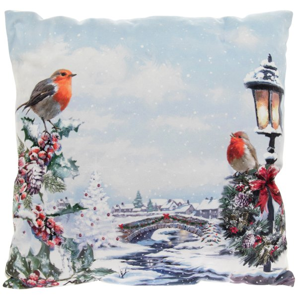 CHRISTMAS ROBINS LED CUSHION