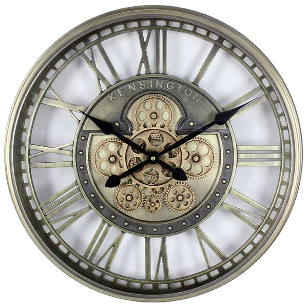 GOLD MOVING COG CLOCK 54CM