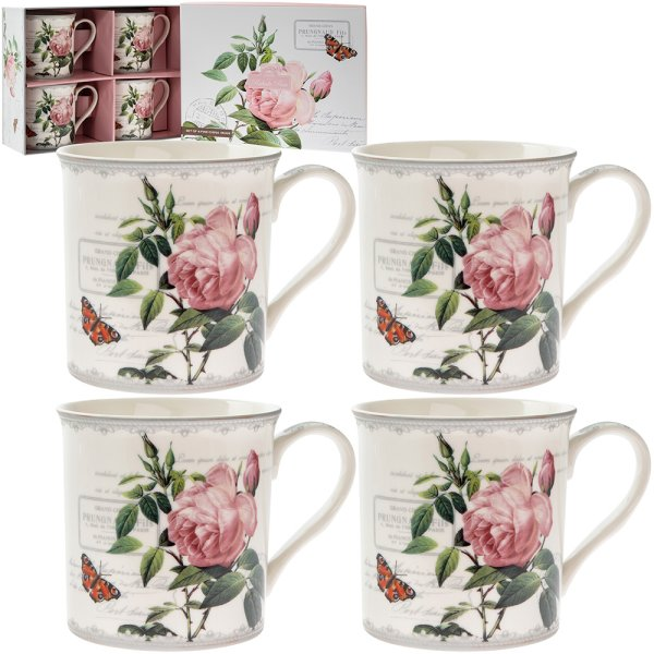 REDOUTE ROSE MUGS 4 SET