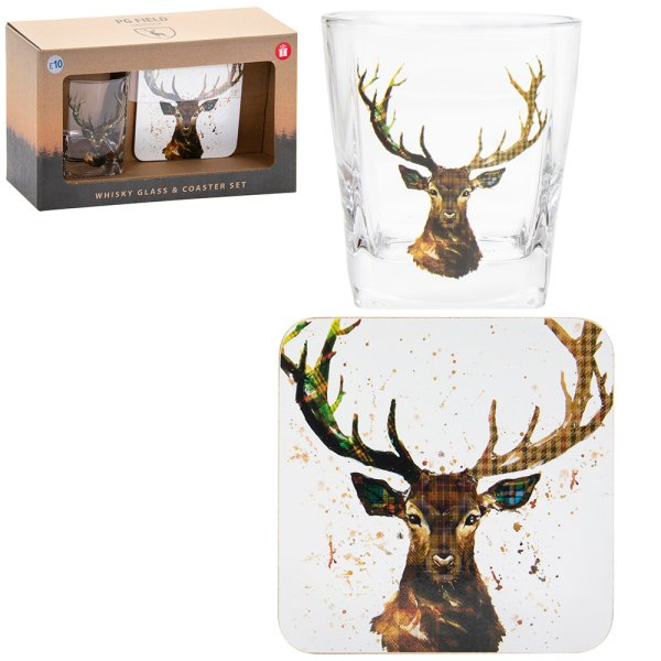 STAG WHISKLEY GLASS&COASTER