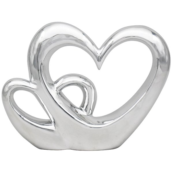 SILVER TWIN HEART LARGE