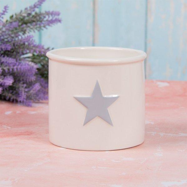 WHITE & GREY STAR PLANT POT S