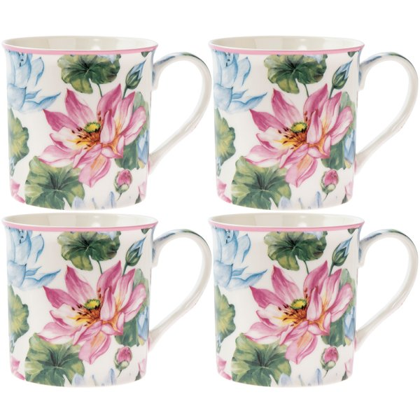 WATER LILY MUGS 4 SET
