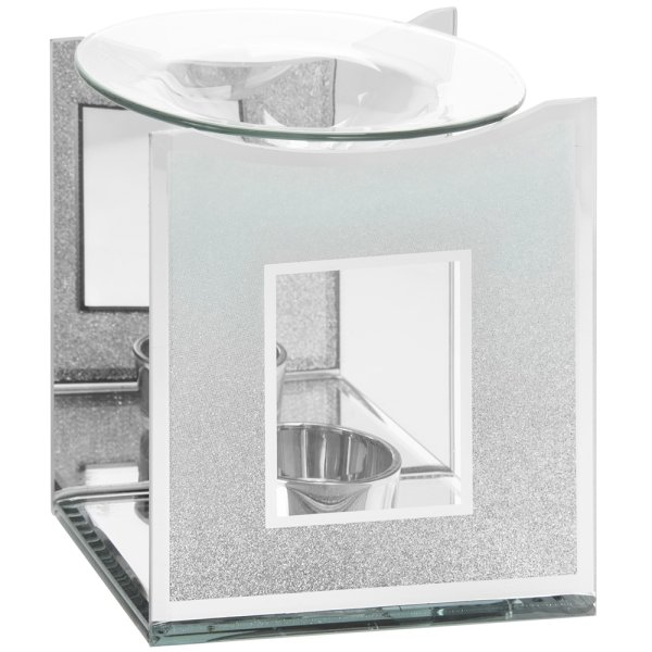 MIRROR WHITE GLIT OIL BURNER