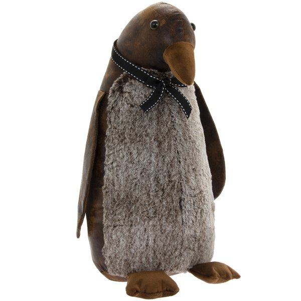 FAUX LEATHER PENGUIN DOORSTOP