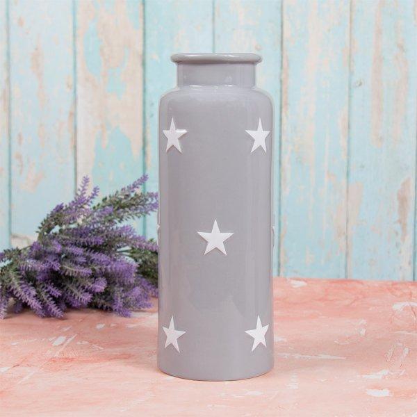 GREY & WHITE STARS VASE L