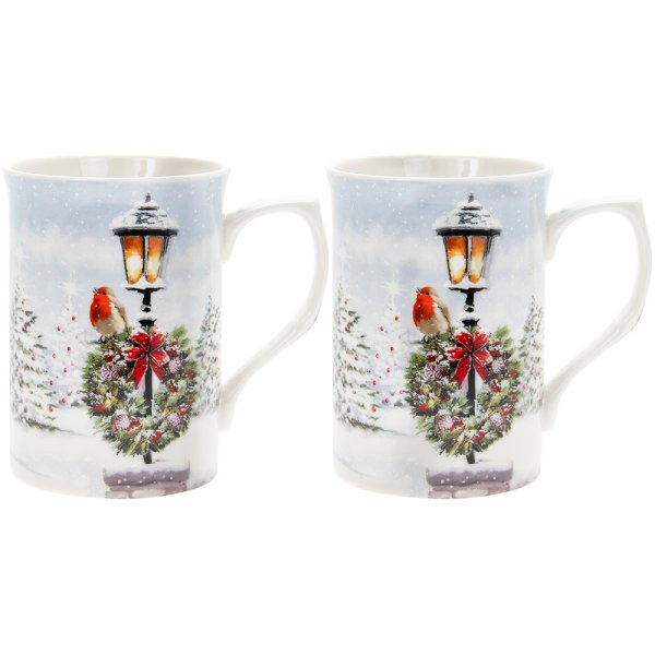 CHRISTMAS ROBINS MUG SET 2