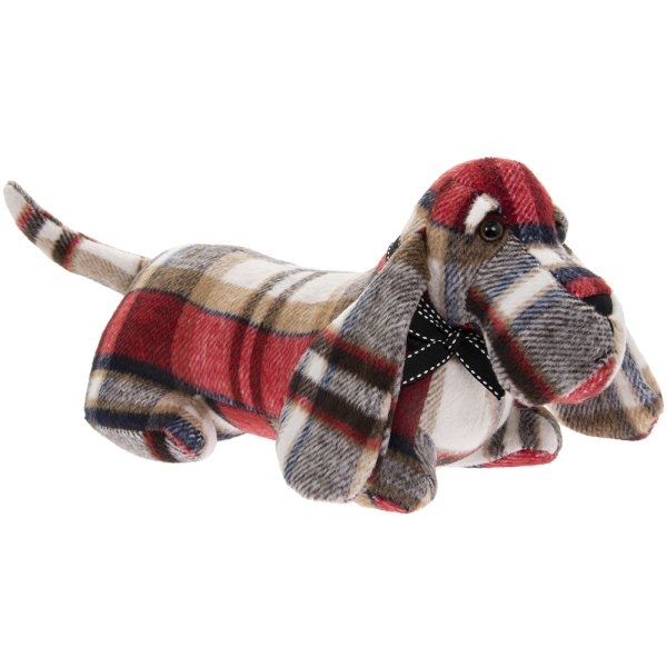 RED CHECK SAUSAGE DOG DOORSTOP