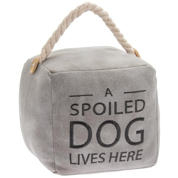 GREY DOG DOORSTOP