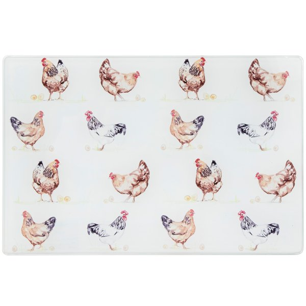 CHICKENS GLS CUTTING BOARD SML