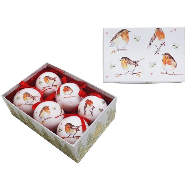 WINTER ROBINS BAUBLES 6 SET