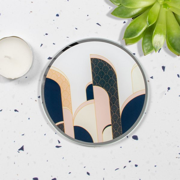 ART DECO CANDLE PLATE 10CM