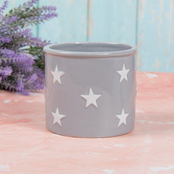 GREY & WHITE STARS PLANT POT S