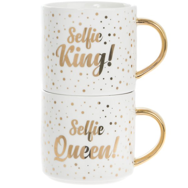 SELFIE KNG/QUEEN STACK MUGS 2S