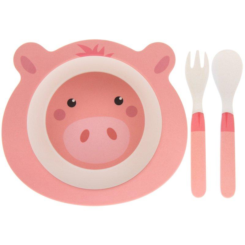 BAMBOO ECO EATING SET PIG