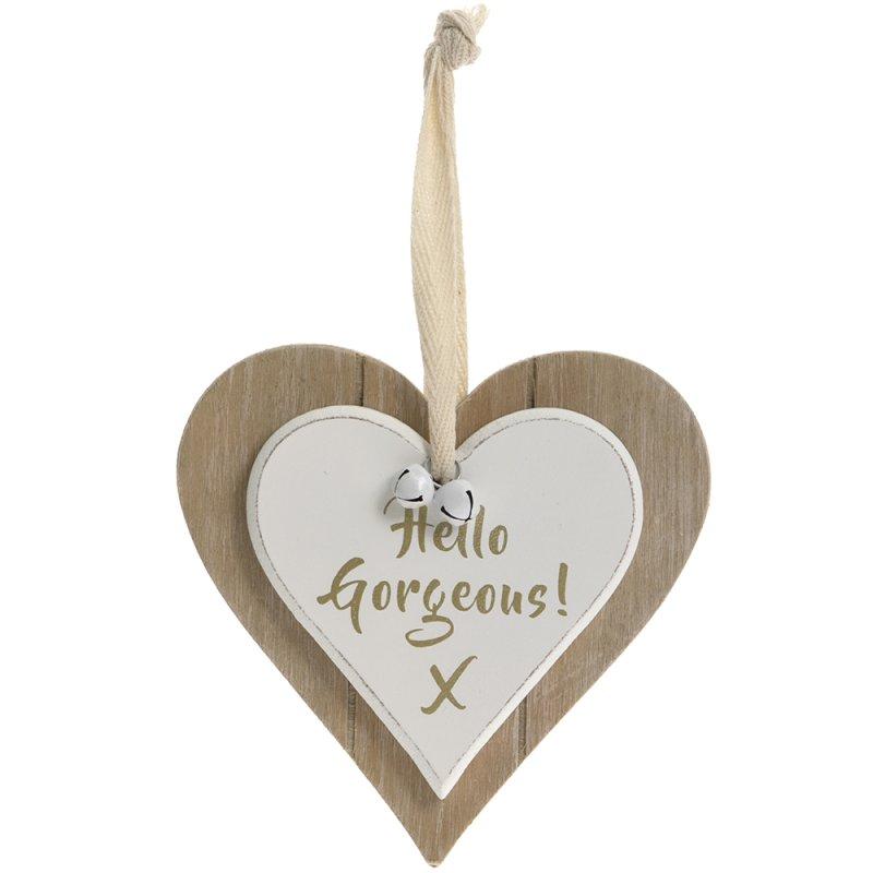 DBL HEART PLQ HELLO GORGEOUS
