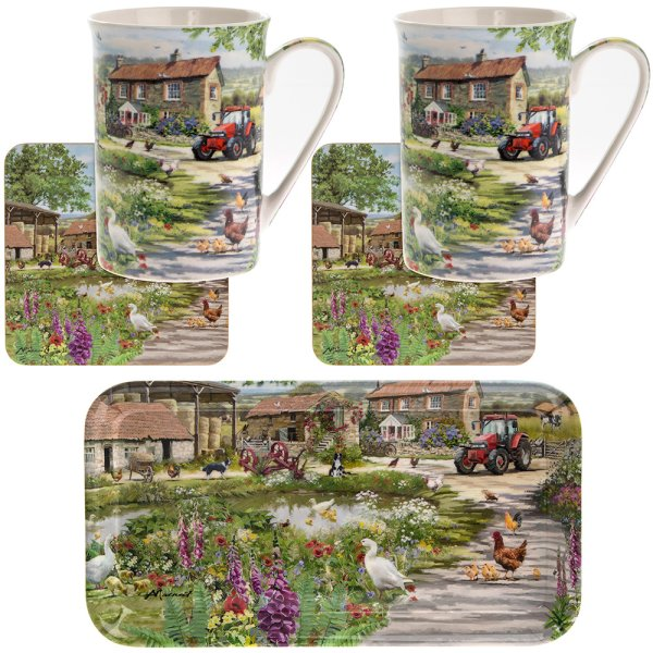 FARMYARD MUGS 2 COASTERS/TRAY