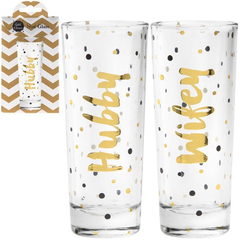 SHOT GLASSES HUBBY & WIFE 2SET