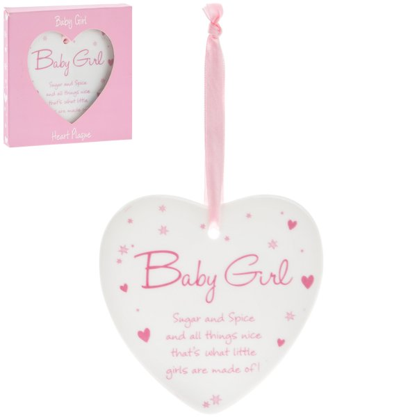 NEW BABY GIRL HEART PLAQUE