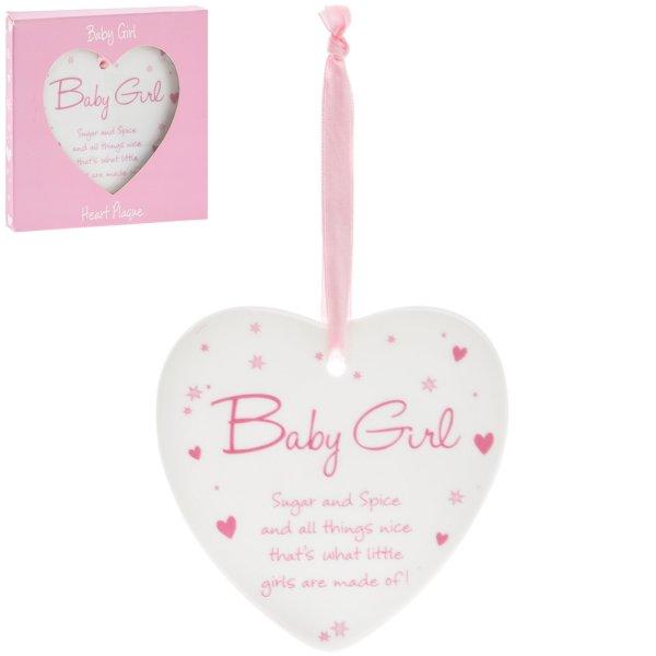 NEW BABY GIRL HEART PLAQUE