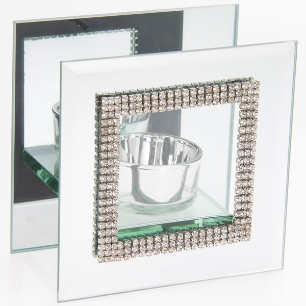 MIRROR DIAMANTE TEALIGHT HOLD