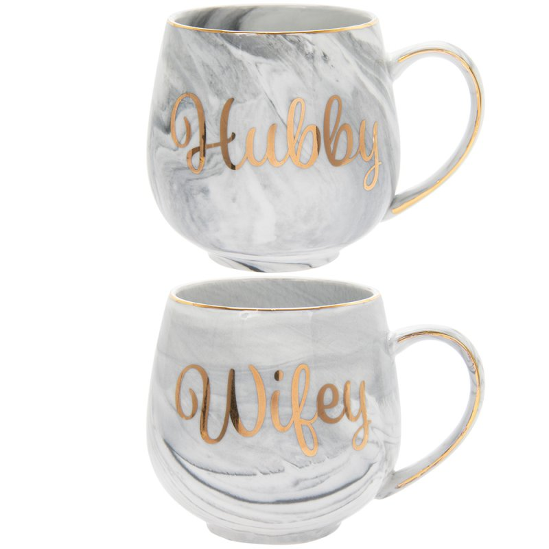 MARBLE HUBBY&WIFEY MUGS SETOF2