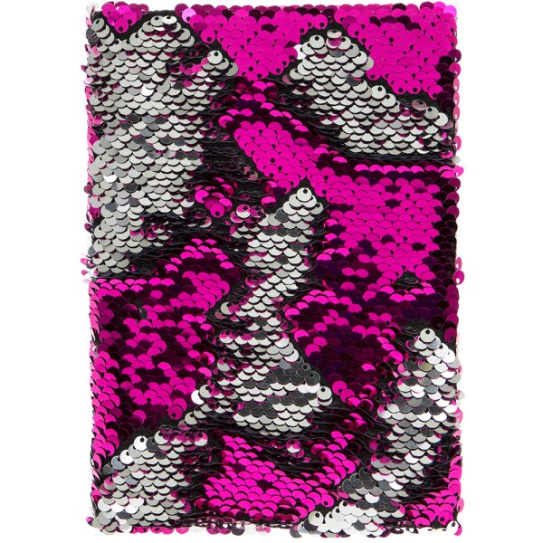 SEQUIN NOTEBOOK PINK & SILVER