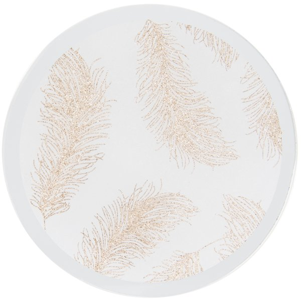 R/GLD FEATHER CANDLE PLATE10CM