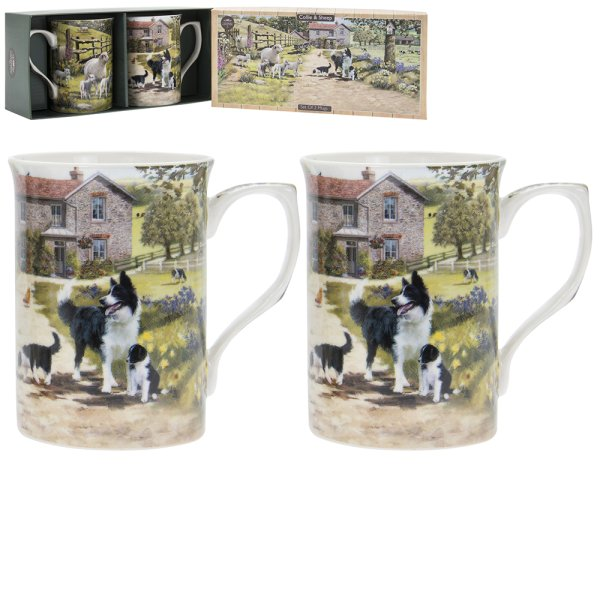 COLLIE & SHEEP MUGS SET OF 2