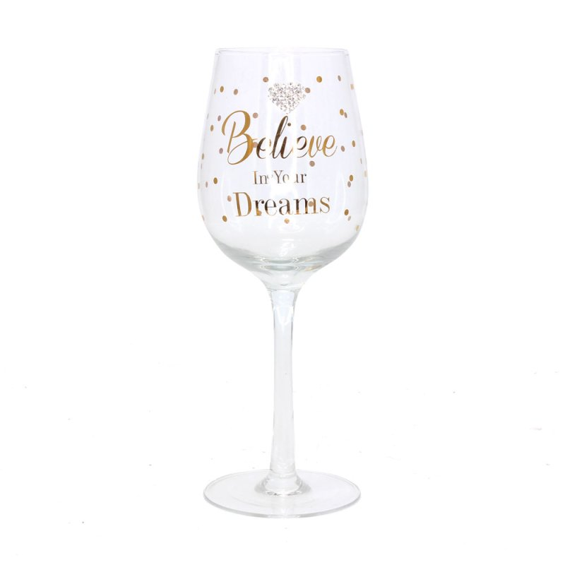 MAD DOTS WINEGLASS BELIEVE