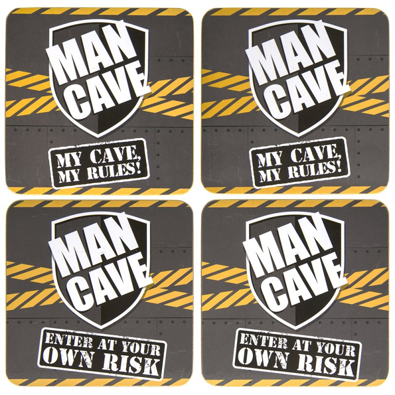 MAN CAVE COASTERS 4SET