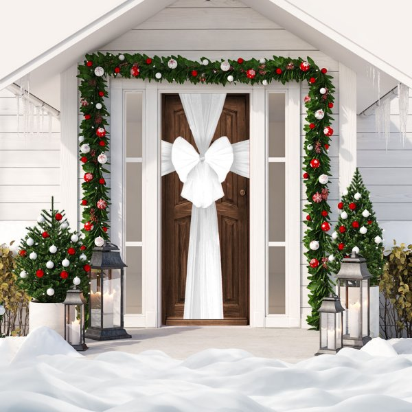XMAS DECORATIVE DOOR BOW WHT