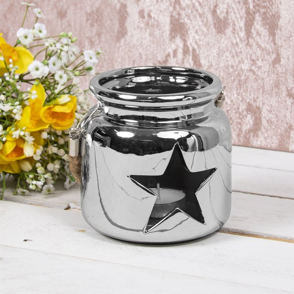 STAR CANDLE HOLDER SILVER 12Cm