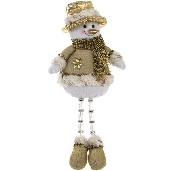 GOLD SITTING SNOWMAN