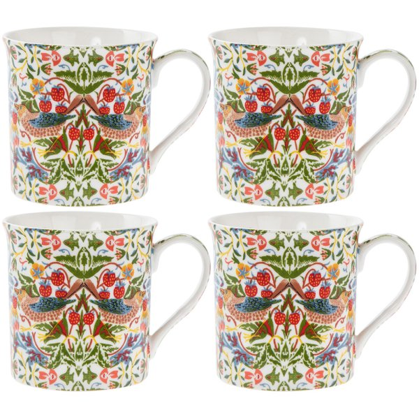 WHT STRAWBERRY THIEF MUGS S4