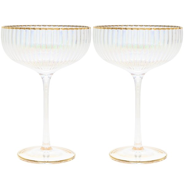 LUSTRE RIBBED COUPE GLASS SET2