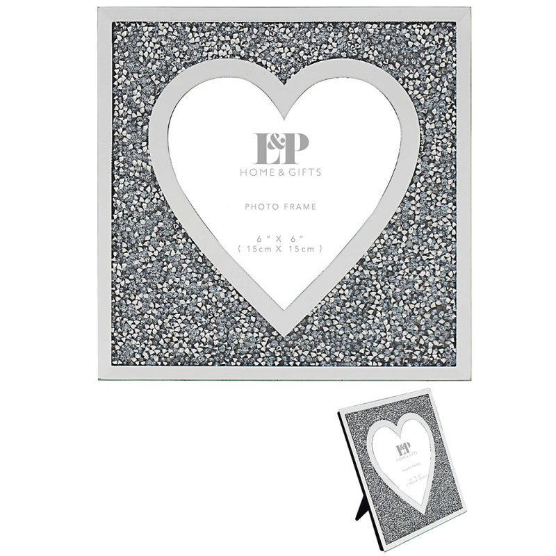 MULTI CRYSTAL HEART FRAME 6X6""