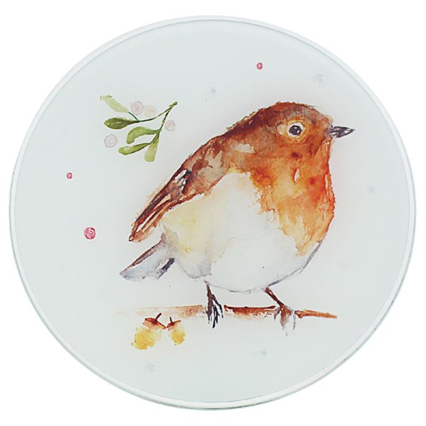 WINTER ROBINS CANDLE PLATE 20C
