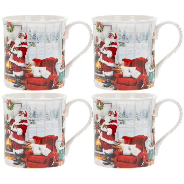 CHRISTMAS SANTA MUGS SET 4