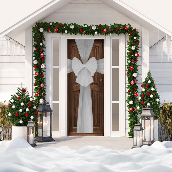XMAS DECORATIVE DOOR BOW SILV