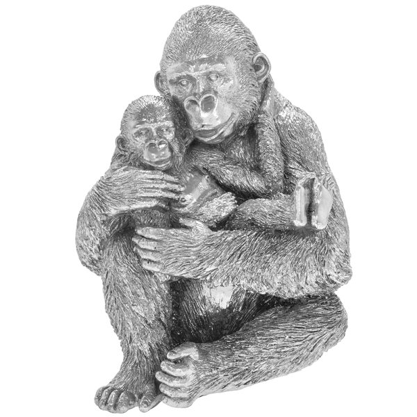 SILVER ART GORILLA WITH BABY
