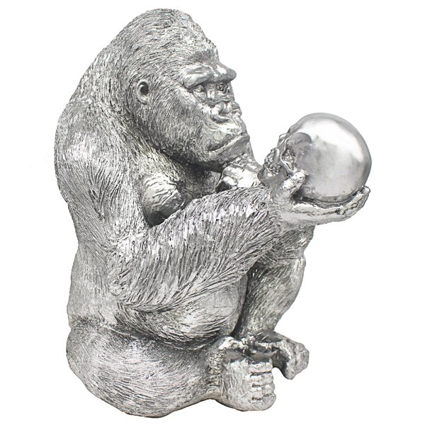 SILVER ART GORILLA THINKER