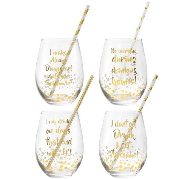 GOLD STEMLESS GLASS SET 4
