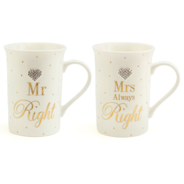 MAD DOT MR&MRS RIGHT MUGS S2