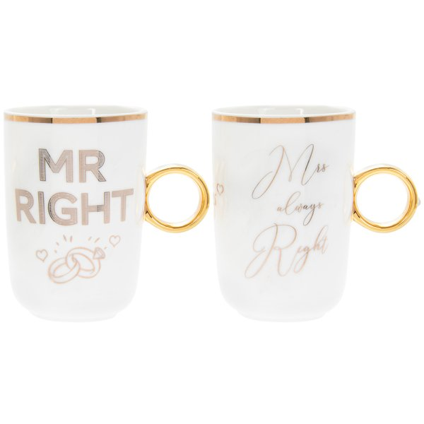 MR & MRS RIGHT RING MUGS 2S