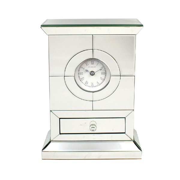 MIRROR CRYSTAL CLOCK W/DRAWER